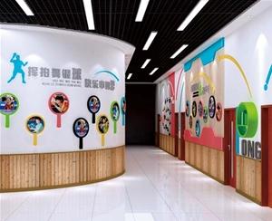 校园文化设计-乒乓走廊墙面设计